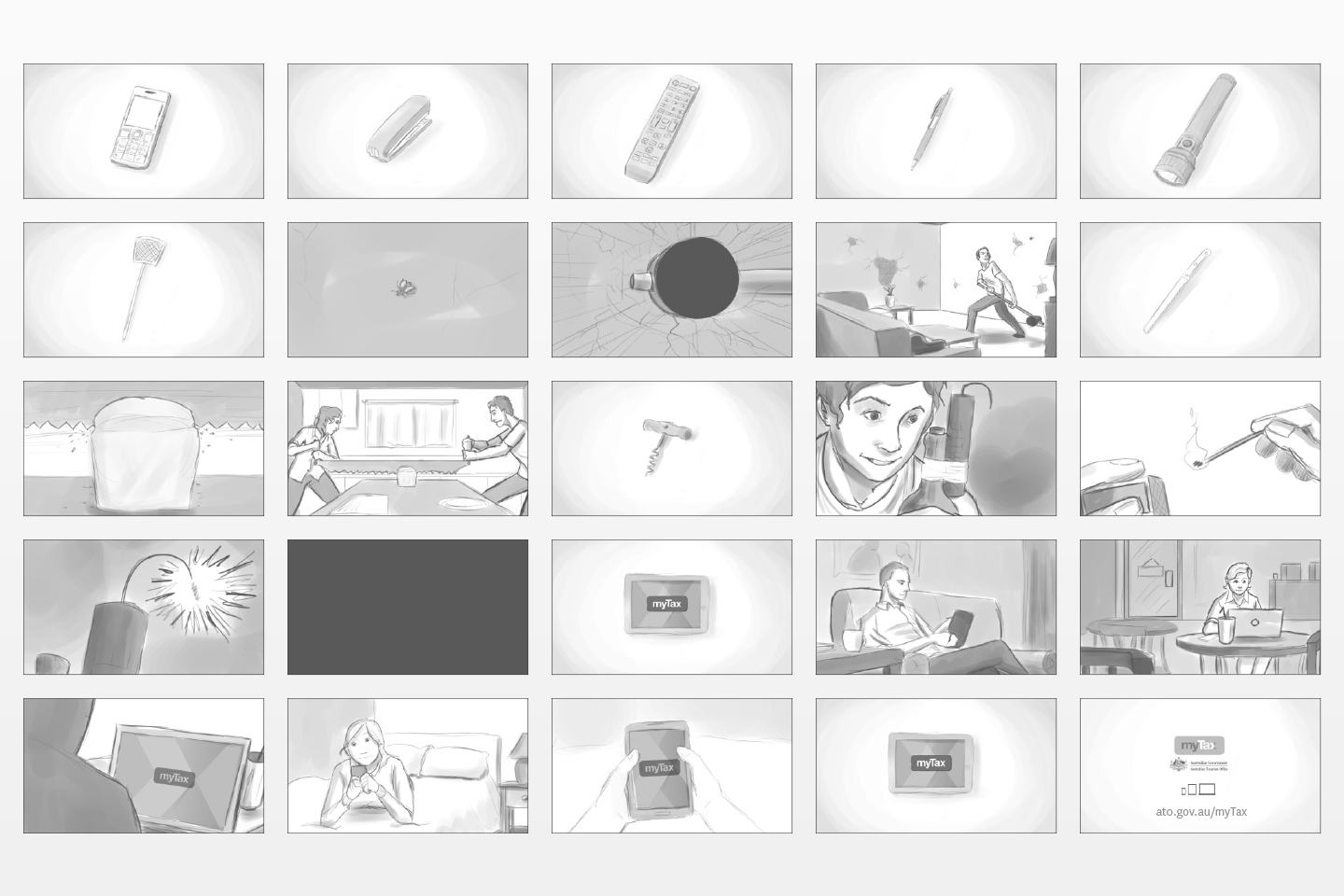 Hand-drawn storyboard