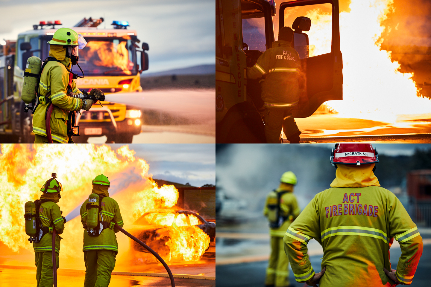 Various fire fighting photography