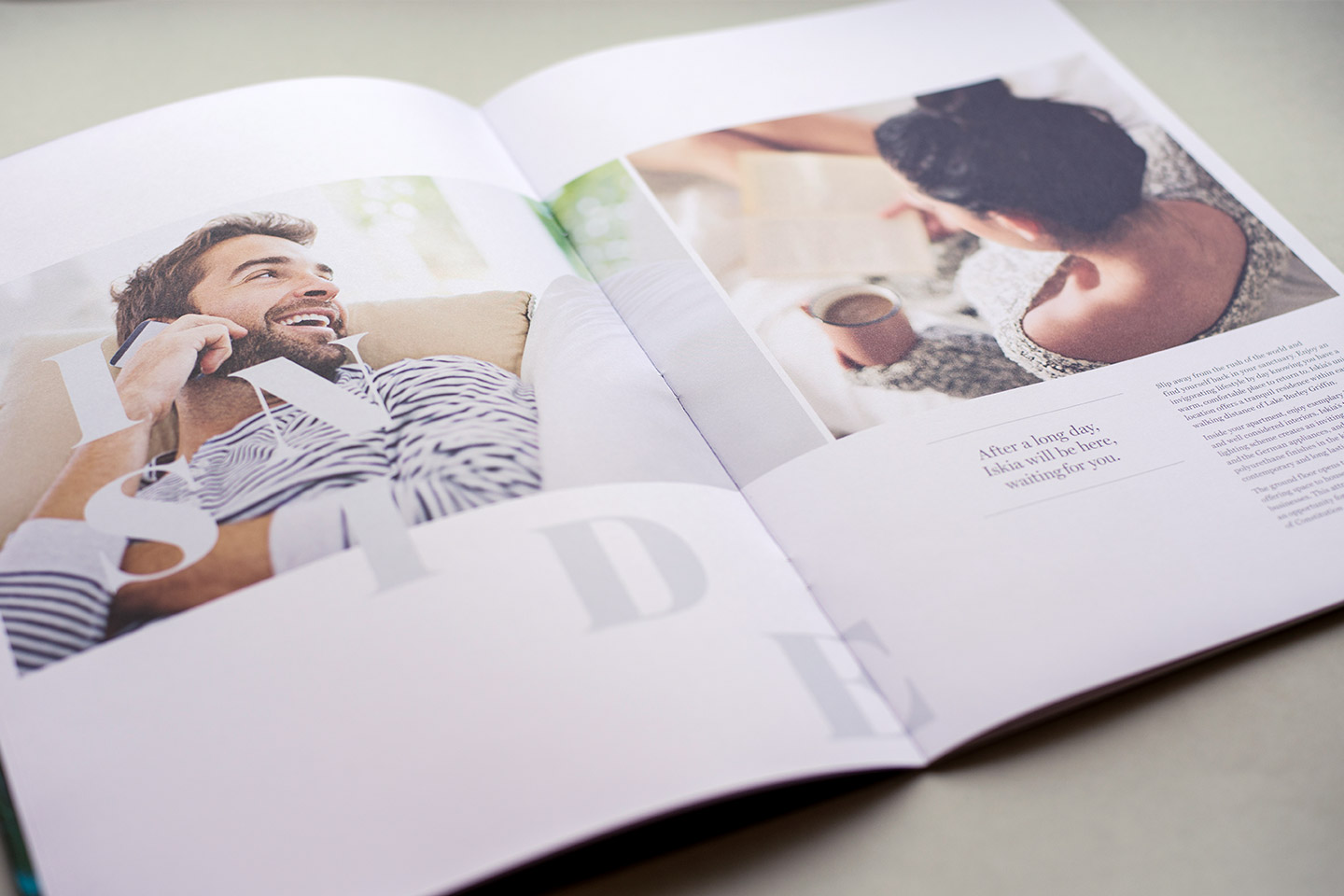 Internal spreads of brochure design for Iskia